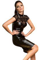 Black Lace High Neck Cupped Leatherette Dress