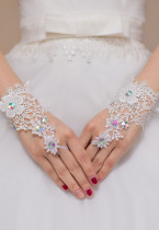 Floral Lace Hollow Out Fingerless Bridal Gloves