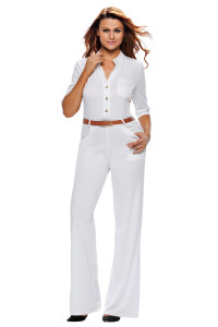 White Half Sleeves Belted Wide Leg Jumpsuit