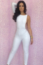 White One-sleeve Hollow out Cut Detail Party Playsuit