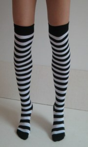 Nylon Black/White Striped Stockings