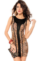 Brown Leopard Print Black Mesh Accent Luxe Dress