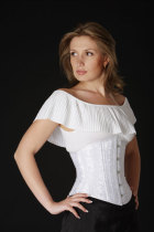 Plus White Floral Brocade Under bust Corset
