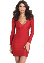 Red Body-hugging Plunging V Neck Jersey Midi Dress
