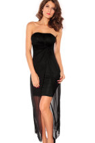 Strapless Dress with Draped Top Sheet Black