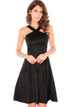 Elegant Crossover Wrapped Chest Fashion Dress Black