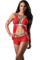 Starlet Sequin Detail Red Lace Babydoll with Boyshort