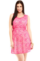 Pink Lace Hollow Back Plus Size Skater Dress