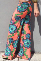 Beach Style Floral Print Wide Leg Pants