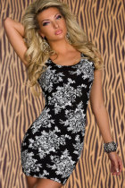 Fitted Stretch Mini Dress with Flower Print