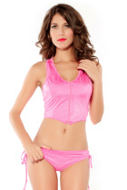 Two Piece Zipper Pink Vest and Panty Set
