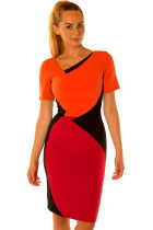 Short Sleeves Color-blocking Sexy Vintage Dress