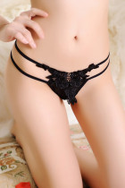 Double Straps Sheer Mesh Lace Thong