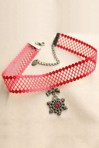 Red Net Necklace with Snowflake Pendant