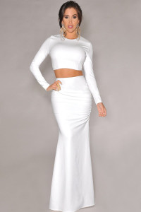 White Maxi Skirt Set in Two-piece