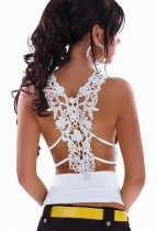 Ruffle Top with Sexy Case Back For Embroidery White