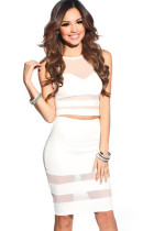White Mesh Cut Out Skirt and Top Set