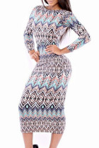 Tribal Print Scoop Back Long-sleeve Midi Dress