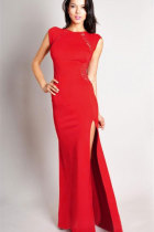 Red Maxi Dress with Lace Back and Fishtail
