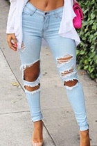 Light Blue Zip Closure Cutting Jeans