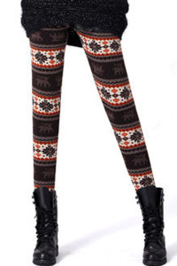 Coffee Christmas Reindeer Fully Lined Leggings