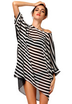 Oversized Black White Stripes Beach Cover-up Smock