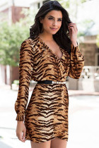 Brown Multi Surplice Leopard Print Dress