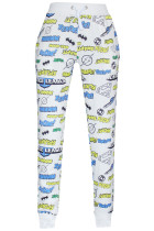 White Various Comic Logos Hero Style Pants