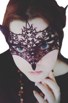 Black Lace Fox Mysterious Masquerade Ball Mask