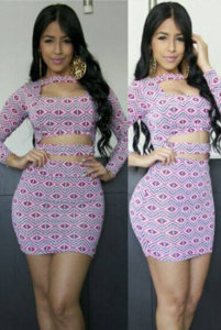 Formfitting Slashed Front Long Sleeved Print Bodycon Dress