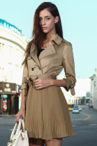 Fashion British Style Patchwork Pleated Lady Coat Dress