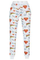 Updated Superman Signature Print White Jogging Pants