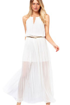 Chiffon Jersey Maxi Dress With Gold Chain White