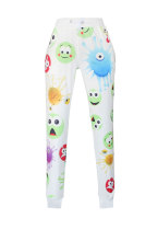 Cute Emoji Print White Pants