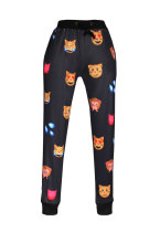 Animal Emoji Print Fashion Black Pants