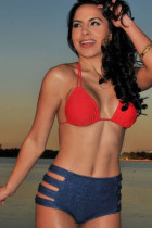 Red and Jeans Blue High-waisted Bikini Swimsuit