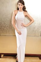 Precious Diva Chiffon Evening Dress With Rhinestone White