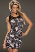 Dim Grey Blossom Rose Print Dress
