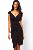 Black Ruched Jersey Wrap Midi Dress