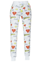 Superman Signature Print White Jogging Pants