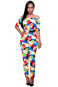 Multicolor Geometric Print Belted Off Shoulder Jumpsuit