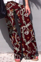 Machinery Print Wine Leisure Palazzo Pants