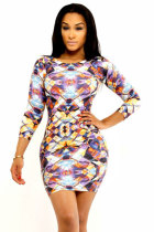 Elegant Long Sleeved Print Dress