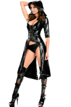 Black Gothic Punk Wetlook Sweet Pea Hooded Coat Gown Dress