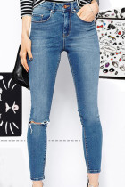 Light Blue Slit Knee Tight-fitting Jeans