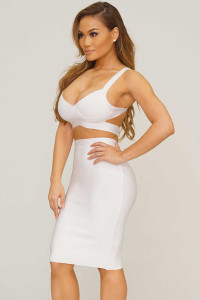 White Two-piece Bandage Cropped Top Skirt Set