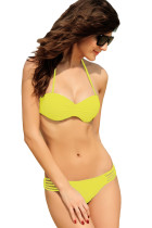 Strappy Cut-out Bikini Yellow