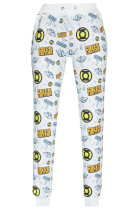 White Green Lantern Logo Print Fashion Pants