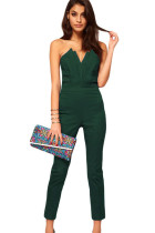 Green Sexy Jumpsuit with Pleated Bust Origami Detail