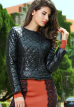 Stylish Black Collarless Quilted PU Womens Jacket